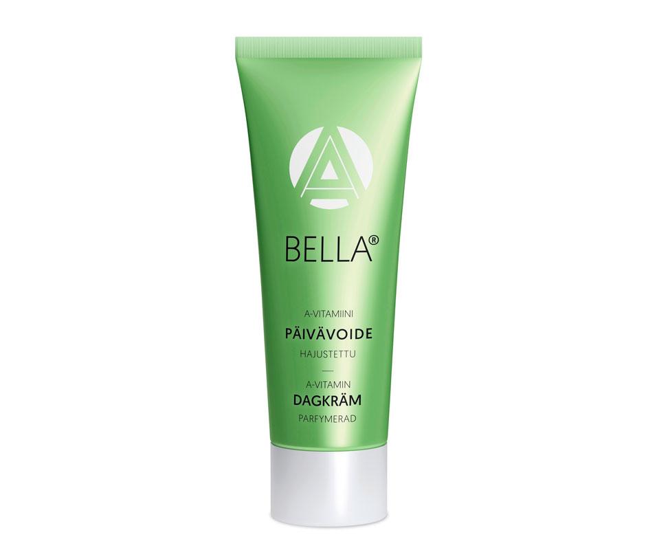 Bella A-vitamiini päivävoide sisältää A-, E- ja C-vitamiineja, niasiiniamidia sekä mango- ja maapähkinäöljyä, 75 g 14 e.