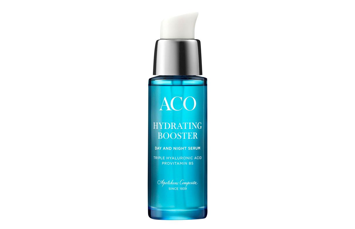 Jos päivävoide on liikaa, saatat pärjätä seerumillakin. Aco Hydrating Booster -seerumi kosteuttaa ja rauhoittaa ihoa hyaluronihapon, pantenolin ja provitamiini B5:n avulla, 30ml 20e.