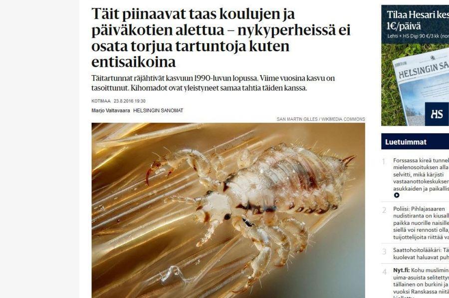 täi, Helsingin Sanomat, täit, täiedidemia, saivareet, täin munat