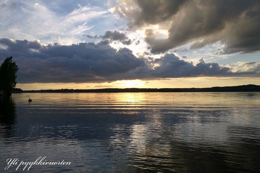 ranta, kesä, auringonlasku